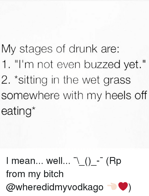 "Buzzed: My stages of drunk are:  1. ""I'm not even buzzed yet.""  2. sitting in the wet grass  somewhere with my heels off  eating I mean... well... ¯\_(ツ)_-¯ (Rp from my bitch @wheredidmyvodkago 👈🏻❤️)"