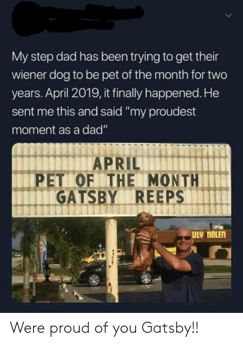 "step dad: My step dad has been trying to get their  wiener dog to be pet of the month for two  years. April 2019, it finally happened. He  sent me this and said ""my proudest  moment as a dad""  PET OF THE MONTH  GATSBY REEPS Were proud of you Gatsby!!"