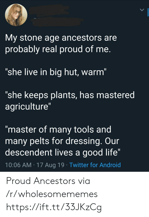 "agriculture: My stone age ancestors are  probably real proud of me.  ""she live in big hut, warm""  ""she keeps plants, has mastered  agriculture""  II  ""master of many tools and  many pelts for dressing. Our  descendent lives a good life""  10:06 AM 17 Aug 19 Twitter for Android Proud Ancestors via /r/wholesomememes https://ift.tt/33JKzCg"