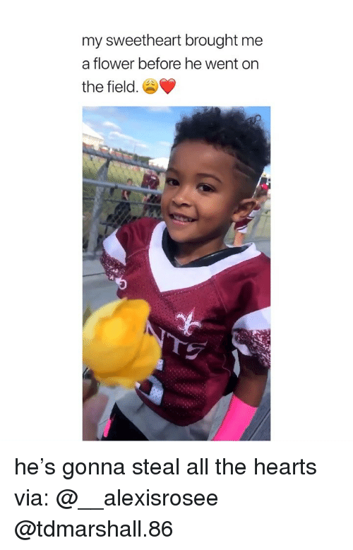Flower, Hearts, and Girl Memes: my sweetheart brought me  a flower before he went on  the field. he's gonna steal all the hearts via: @__alexisrosee @tdmarshall.86