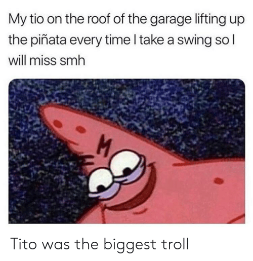 Pinata: My tio on the roof of the garage lifting up  the piñata every time l take a swing so  will miss smh Tito was the biggest troll
