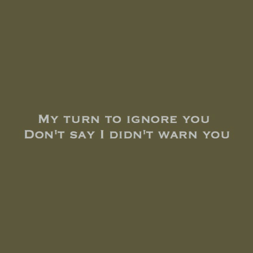 You, Turn, and  Ignore: MY TURN TO IGNORE YOU  DON'T SAYI DIDN'T WARN YOU