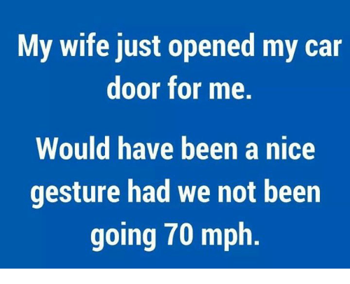 Memes, Wife, and Nice: My wife just opened my car  door for me.  Would have been a nice  gesture had we not been  going 70 mph