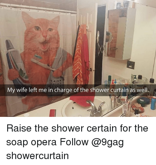 soap opera: My wife left me in charge of the shower curtain as well. Raise the shower certain for the soap opera Follow @9gag showercurtain