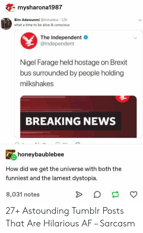Sarcasm: mysharona1987  Bim Adewunmi @bimadew 12h  what a time to be alive & conscious  The Independent  @Independent  Nigel Farage held hostage on Brexit  bus surrounded by people holding  milkshakes  BREAKING NEWS  honeybaublebee  How did we  get the universe with both the  funniest and the lamest dystopia  8,031 notes 27+ Astounding Tumblr Posts That Are Hilarious AF – Sarcasm
