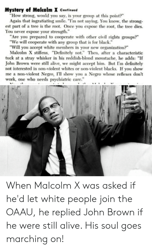 "Alive, Definitely, and Malcolm X: Mystery of Malcolm X Continued  ""How strong, would you say, is your group at this point?  Again that ingratiating smile. ""I'm not saying. You know, the strong-  est part of a tree is the root. Once you expose the root, the tree dies.  You never expose your strength.""  Are you prepared to cooperate with other civil rights groups?""  ""We will cooperate with any group that is for black.  ""Will you accept white members in your new organization?""  Malcolm X stiffens. ""Definitely not."" Then, after a characteristic  tuck at a stray whisker in his reddish-blond moustache, he adds: ""If  John Brown were still alive, we might accept him. Bu I'm definitely  not interested in non-violent whites or non-vioent blacks. If you show  me a non-violent Negro, I'll show you a Negro whose reflexes don't  work, one who needs psychiatric care."" When Malcolm X was asked if he'd let white people join the OAAU, he replied John Brown if he were still alive. His soul goes marching on!"