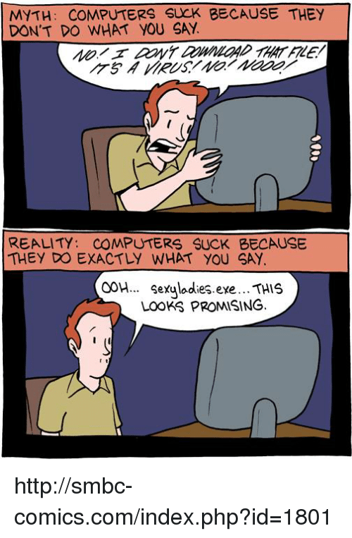Smbc Comic: MYTH: COMPUTERS SUCK BECAUSE THEY  DON'T DO WHAT YOU SAY  REALITY: COMPUTERS SUCK BECAUSE  THEY DO EXACTLY WHAT YOU SAY  OOH... Sexuladies eye... THIS  Looks PROMISING. http://smbc-comics.com/index.php?id=1801