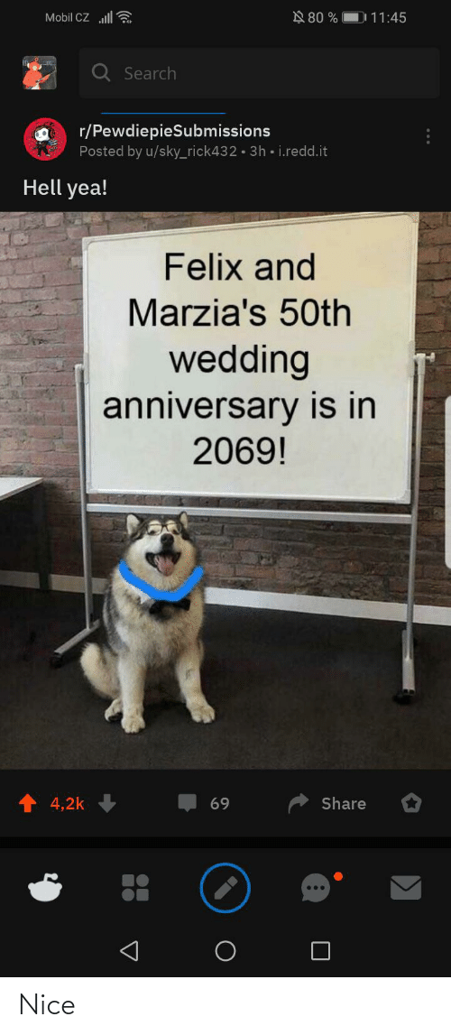 Mobil: N 80 %    Mobil CZ ll  D 11:45  Q Search  r/PewdiepieSubmissions  Posted by u/sky_rick432 · 3h • i.redd.it  Hell yea!  Felix and  Marzia's 50th  wedding  anniversary is in  2069!  4,2k  Share  69  ... Nice