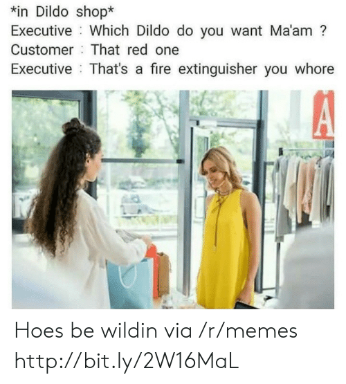 executive: n Dildo shop*  Executive Which Dildo do you want Ma'am?  Customer That red one  Executive That's a fire extinguisher you whore Hoes be wildin via /r/memes http://bit.ly/2W16MaL