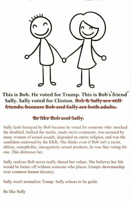 Be Like, Kkk, and Life: n en  d 6  This is Bob. He voted for Trump. This is Bob's friend  Sally. Sally voted for Clinton. Bob Sally are still-  Be like Bobamd Sally.  Sally feels betrayed by Bob because he voted for someone who: mocked  the disabled, bullied the media, made racist comments, was accused by  many women of sexual assault, degraded an entire religion, and was the  candidate endorsed by the KKK. She thinks even if Bob isn't a racist,  ableist, xenophobic, misogynistic sexual predator, he was fine voting for  one. This distresses her.  Sally realizes Bob never really shared her values. She believes her life  would be better off without someone who places Trumps showmanship  over common human decency.  Sally won't normalize Trump. Sally refuses to be gaslit  Be like Sally