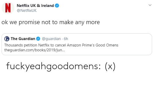 Guardian: N  Netflix UK & Ireland  @NetflixUK  ok we promise not to make any more  G The Guardian  @guardian 6h  Thousands petition Netflix to cancel Amazon Prime's Good Omens  theguardian.com/books/2019/jun.. fuckyeahgoodomens: (x)