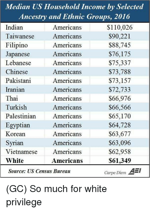 Andrew Bogut, Memes, and Ancestry: n US Household Income by Set  Ancestry and Ethnic Groups, 2016  Indian  Taiwanese  Filipino  Japanese  Lebanese  Chinese  Pakistani  Iranian  Thai  Turkish  Palestinian Americans  Egyptian  Korean  Syrian  Vietnamese  White  Americans  Americans  Americans  Americans  Americans  Americans  Americans  Americans  Americans  Americans  $110,026  $90,221  $88,745  $76,175  $75,337  $73,788  $73,157  $72,733  $66,976  $66,566  $65,170  S64,728  $63,677  $63,096  $62,958  $61,349  Carpe Diem A  Americans  Americans  Americans  Americans  Americans  Source: US Census Bureau (GC) So much for white privilege