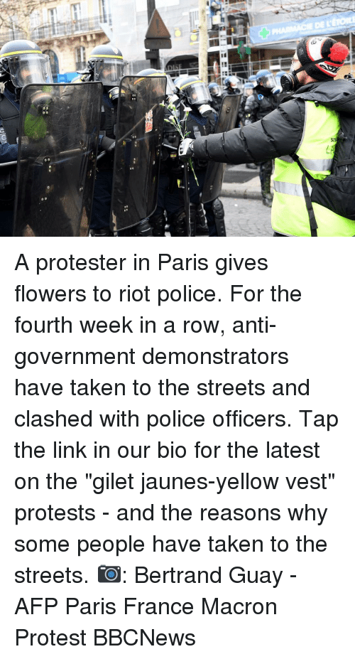 "Memes, Police, and Protest: NA  SU A protester in Paris gives flowers to riot police. For the fourth week in a row, anti-government demonstrators have taken to the streets and clashed with police officers. Tap the link in our bio for the latest on the ""gilet jaunes-yellow vest"" protests - and the reasons why some people have taken to the streets. 📷: Bertrand Guay - AFP Paris France Macron Protest BBCNews"