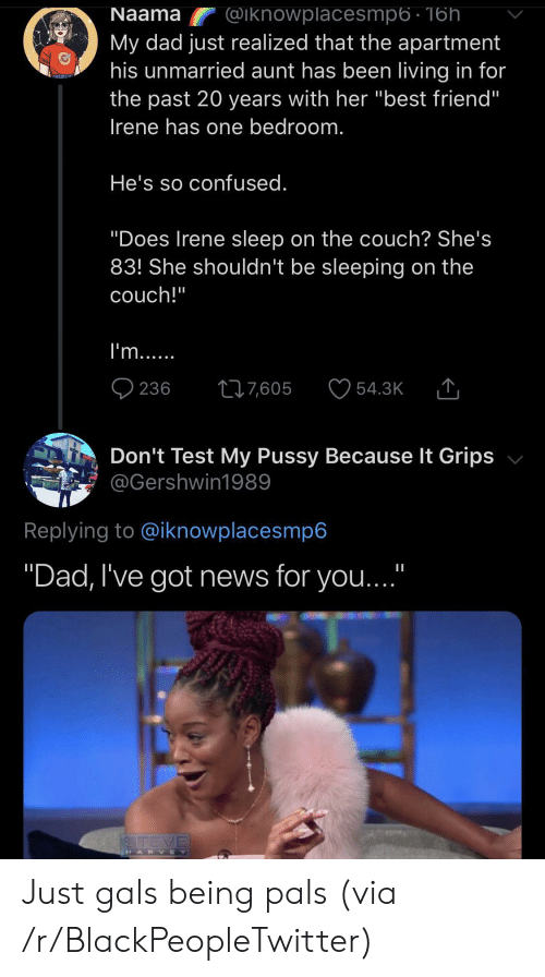 "Best Friend, Blackpeopletwitter, and Confused: Naama  @iknowplacesmp6 - 16h  My dad just realized that the apartment  his unmarried aunt has been living in for  the past 20 years with her ""best friend""  Irene has one bedroom.  He's so confused.  ""Does Irene sleep on the couch? She's  83! She shouldn't be sleeping on the  couch!""  I'm...  236  217,605  54.3K  Don't Test My Pussy Because It Grips  @Gershwin1989  Replying to @iknowplacesmp6  ""Dad, I've got news for you...""  STEVE  HARVEY Just gals being pals (via /r/BlackPeopleTwitter)"
