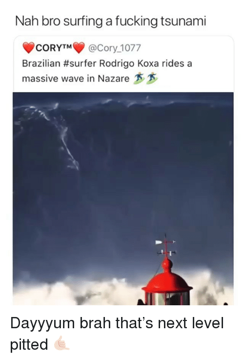 Rodrigo: Nah bro surfing a fucking tsunami  CORYTM@Cory_1077  Brazilian #surfer Rodrigo Koxa rides a  massive wave in Nazare Dayyyum brah that's next level pitted 🤙🏻