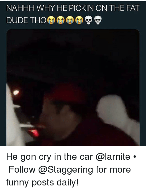 Dude, Funny, and Fat: NAHHH WHY HE PICKIN ON THE FAT  DUDE THO He gon cry in the car @larnite • ➫➫➫ Follow @Staggering for more funny posts daily!