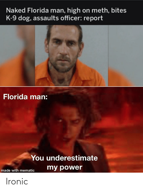 k-9: Naked Florida man, high on meth, bites  K-9 dog, assaults officer: report  Florida man:  You underestimate  my power  made with mematic Ironic