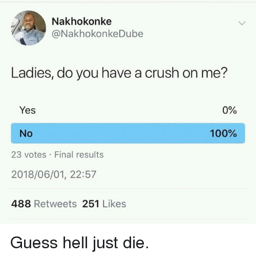 Just Die: Nakhokonke  @NakhokonkeDube  Ladies, do you have a crush on me?  Yes  0%  No  100%  23 votes Final results  2018/06/01, 22:57  488 Retweets 251 Likes Guess hell just die.