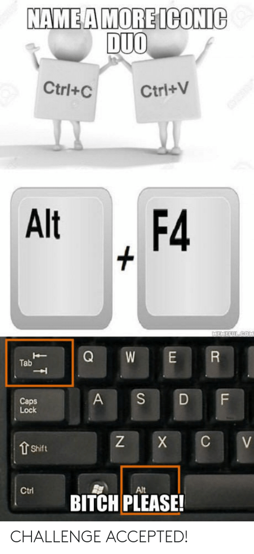 ctrl-c: NAMEA MORE ICONIc  DUO  Ctrl+C  Ctri+V  Alt , F4  Tab  A S DF  Caps  Lock  Z X C V  Shift  Alt  BITCH PLEASE! CHALLENGE ACCEPTED!