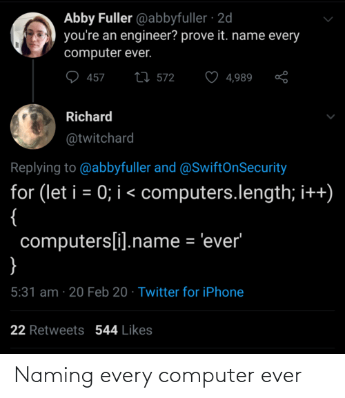 Computer: Naming every computer ever