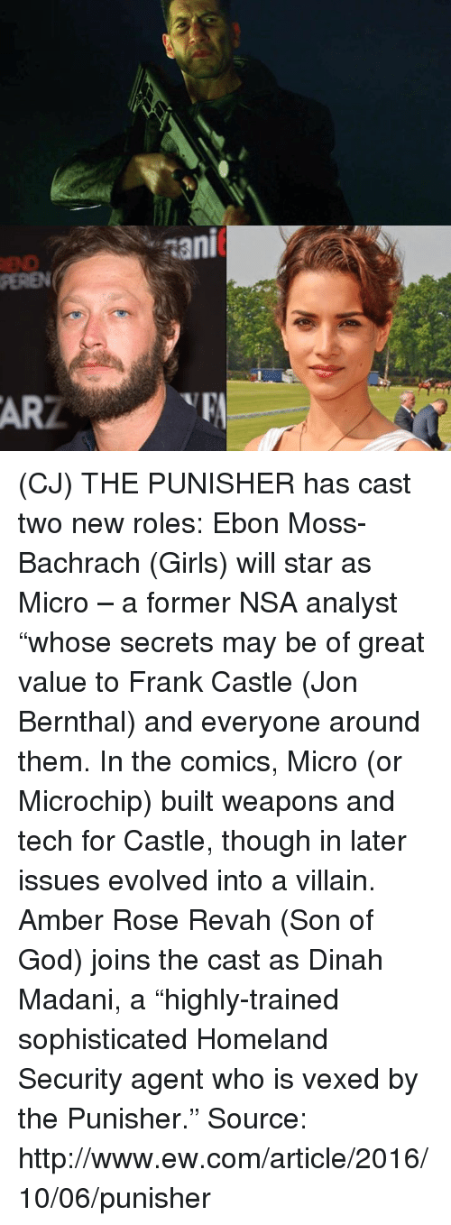"Amber Rose, Ebonics, and Girls: nani (CJ) THE PUNISHER has cast two new roles: Ebon Moss-Bachrach (Girls) will star as Micro – a former NSA analyst ""whose secrets may be of great value to Frank Castle (Jon Bernthal) and everyone around them. In the comics, Micro (or Microchip) built weapons and tech for Castle, though in later issues evolved into a villain.  Amber Rose Revah (Son of God) joins the cast as Dinah Madani, a ""highly-trained sophisticated Homeland Security agent who is vexed by the Punisher.""  Source: http://www.ew.com/article/2016/10/06/punisher"