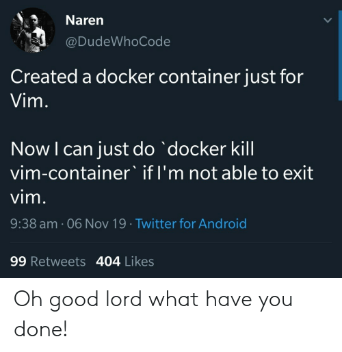 What Have You: Naren  @DudeWhoCode  Created a docker container just for  Vim.  Now I can just do docker kill  vim-container' if I'm not able to exit  vim.  9:38 am. 06 Nov 19 Twitter for Android  99 Retweets 404 Likes Oh good lord what have you done!
