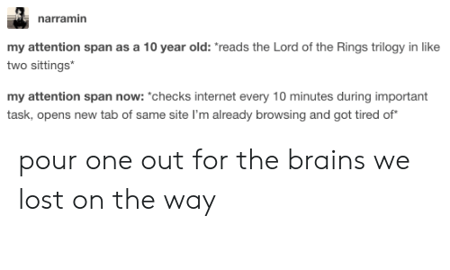 """The Lord of the Rings: narramin  my attention span as a 10 year old: reads the Lord of the Rings trilogy in like  two sittings  my attention span now: """"*checks internet every 10 minutes during important  task, opens new tab of same site I'm already browsing and got tired of pour one out for the brains we lost on the way"""