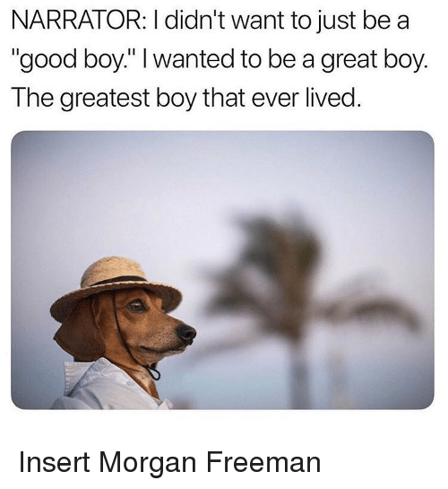 """Morgan Freeman: NARRATOR: I didn't want to just be a  """"good boy."""" I wanted to be a great boy.  The greatest boy that ever lived. Insert Morgan Freeman"""