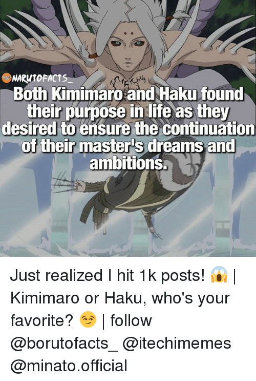 haku: NARUTO FACTS  Both Kimimaro and Haku found  their purpose in life as they  desired to ensure the continuation  of their masters dreams and  ambitions. Just realized I hit 1k posts! 😱 | Kimimaro or Haku, who's your favorite? 😏 | follow @borutofacts_ @itechimemes @minato.official