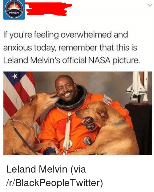Blackpeopletwitter, Nasa, and Today: NASA  If you're feeling overwhelmed and  anxious today, remember that this is  Leland Melvin's official NASA picture. <p>Leland Melvin (via /r/BlackPeopleTwitter)</p>