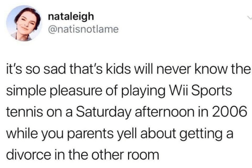 Parents, Sports, and Kids: nataleigh  @natisnotlame  it's so sad that's kids will never know the  simple pleasure of playing Wii Sports  tennis on a Saturday afternoon in 2006  while you parents yell about getting a  divorce in the other room