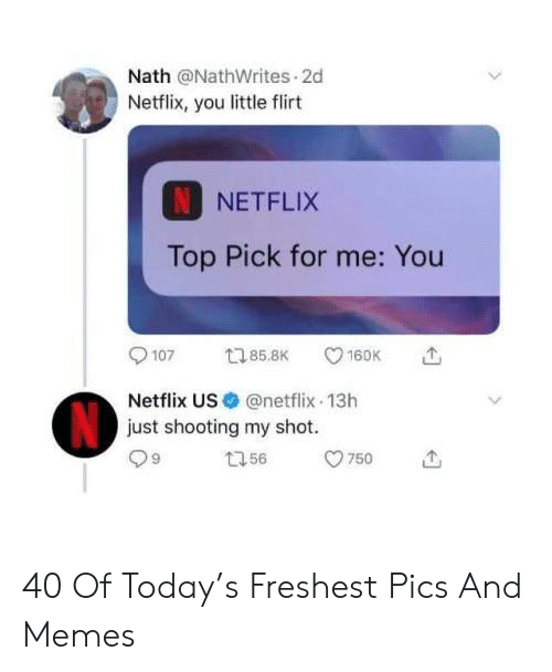 Memes, Netflix, and Today: Nath @NathWrites 2d  Netflix, you little flirt  NETFLIX  Top Pick for me: You  9107ロ85.BKV160K  Netflix US@netflix 13h  just shooting my shot.  99 ロ56 750 40 Of Today's Freshest Pics And Memes