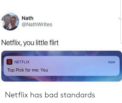 Bad, Netflix, and Top: Nath  @NathWrites  Netflix, you little flirt  NETFLIX  now  Top Pick for me: You Netflix has bad standards
