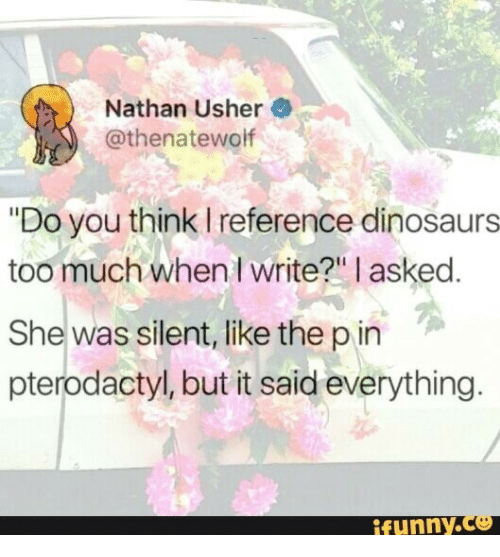 """Usher: Nathan Usher  @thenatewolf  """"Do you think I reference dinosaurs  too much when I write?"""" I asked.  She was silent, like the pin  pterodactyl, but it said everything.  funny."""