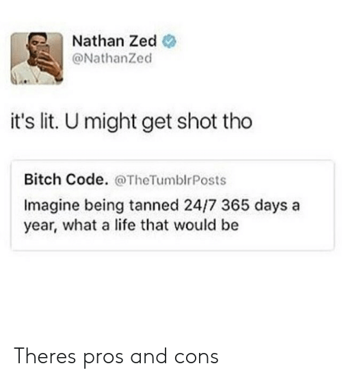 It's lit: Nathan Zed  @NathanZed  it's lit. U might get shot tho  Bitch Code. @TheTumblrPosts  Imagine being tanned 24/7 365 days a  year, what a life that would be Theres pros and cons