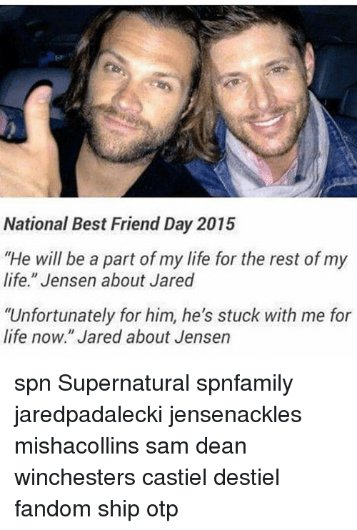 "best friend day: National Best Friend Day 2015  ""He will be a part of my life for the rest of my  life."" Jensen about Jared  ""Unfortunately for him, he's stuck with me for  life now."" Jared about Jensen spn Supernatural spnfamily jaredpadalecki jensenackles mishacollins sam dean winchesters castiel destiel fandom ship otp"