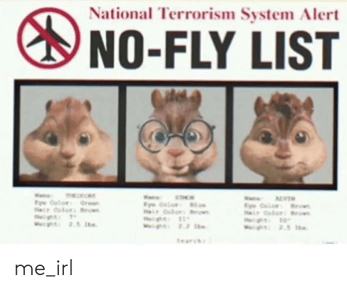 Terrorism, Irl, and Me IRL: National Terrorism System Alert  NO-FLY LIST  Na Te  Ey olor Grea  r dolor Bro  g  Mg 2.5 te  N ALVEN  EClor B  CoorB  g  gh 2.5 h  ae  STO  Hir dolor  t ght 11  Wght 2.2 b  Searc me_irl
