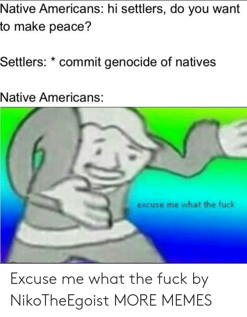 Dank, Memes, and Target: Native Americans: hi settlers, do you want  to make peace?  Settlers: * commit genocide of natives  Native Americans:  excuse me what the fuck Excuse me what the fuck by NikoTheEgoist MORE MEMES