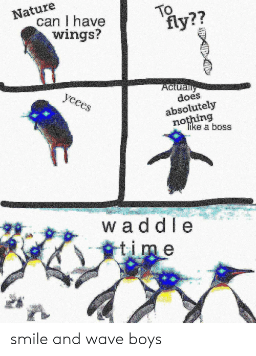 A Boss: Nature  can I have  wings?  TO  fly??  Aclually  does  yeees  absolutely  nothing  Tike a boss  waddle  time smile and wave boys