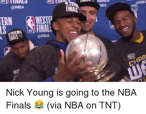 Finals, Nba, and Nick Young: @NBA  FINALS  NBA  @NB  ERNWESTE  NBA  @NBA  CHAT Nick Young is going to the NBA Finals 😂  (via NBA on TNT)