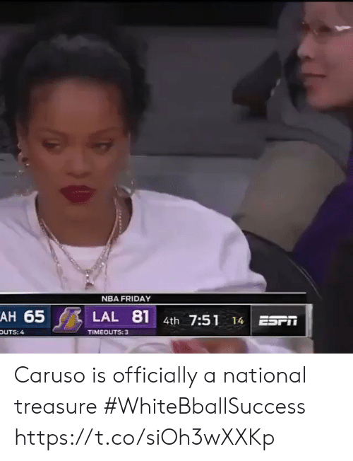 Basketball: NBA FRIDAY  AH 65  81  LAL  4th 7:51  ESr  14  TIMEOUTS: 3  OUTS: 4 Caruso is officially a national treasure #WhiteBballSuccess https://t.co/siOh3wXXKp