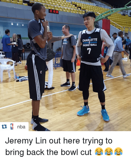 Jeremy Lin: nba  I3: 13:26  CHARLOTTE  GASKETBALL Jeremy Lin out here trying to bring back the bowl cut 😂😂😂