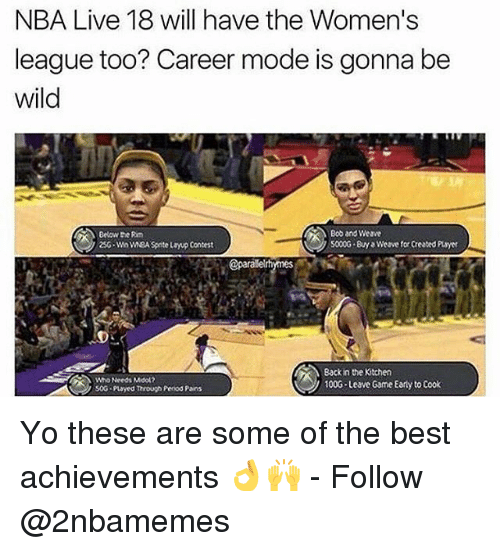 Weå›: NBA Live 18 will have the Women's  league too? Career mode is gonna be  wild  Below the Rm  25G-Wn wEA Spite layup Contest  Bob and Weave  5000G By Weave for Created Puayer  @parale  Who Needs Mool2  soG payed Through Penod Pains  Back in the Kitchen  100G Leave Game Early to Cook Yo these are some of the best achievements 👌🙌 - Follow @2nbamemes