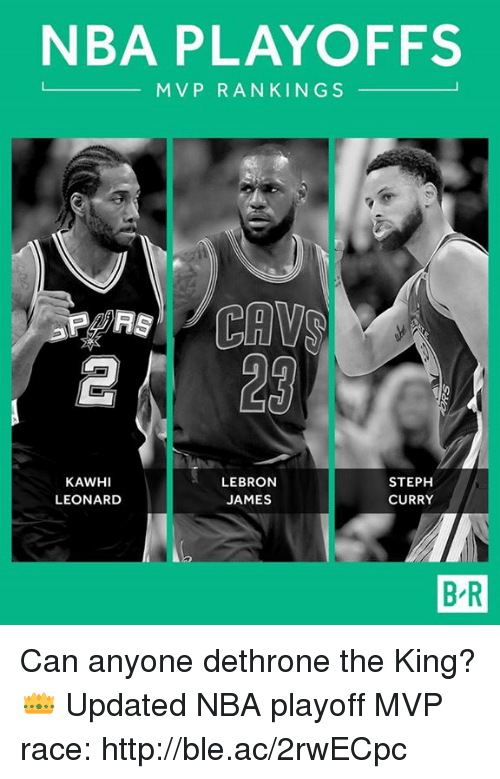 Cavs, Nba, and Http: NBA PLAYOFFS  M V P R A N KINGS  CAVS  LEBRON  KAWHI  STEPH  JAMES  LEONARD  CURRY  BR Can anyone dethrone the King? 👑  Updated NBA playoff MVP race: http://ble.ac/2rwECpc
