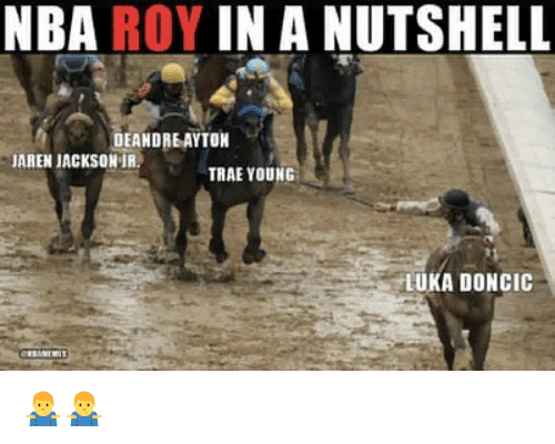 Nba, Jackson, and In a Nutshell: NBA ROY IN A NUTSHELL  DEANDREAYTON  AREN JACKSON IR.  TRAE YOUNG  LUKA DONCIC 🤷♂️🤷♂️