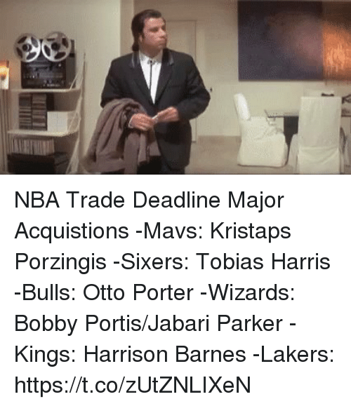 Bobby Portis, Kristaps Porzingis, and Los Angeles Lakers: NBA Trade Deadline Major Acquistions  -Mavs: Kristaps Porzingis  -Sixers: Tobias Harris -Bulls: Otto Porter -Wizards: Bobby Portis/Jabari Parker -Kings: Harrison Barnes -Lakers: https://t.co/zUtZNLIXeN
