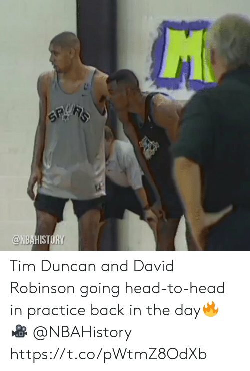 Head, Memes, and Tim Duncan: @NBAHISTORY Tim Duncan and David Robinson going head-to-head in practice back in the day🔥  🎥 @NBAHistory https://t.co/pWtmZ8OdXb