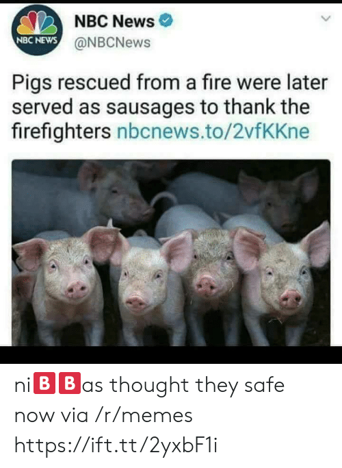 sausages: NBC News  NBC NEWS  @NBCNews  Pigs rescued from a fire were later  served as sausages to thank the  firefighters nbcnews.to/2vfKKne ni🅱🅱as thought they safe now via /r/memes https://ift.tt/2yxbF1i