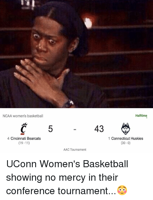 Basketball, Connecticut, and Ncaa: NCAA women's basketball  Halftime  5  43  4 Cincinnati Bearcats  (19-11)  1 Connecticut Huskies  (30-0)  AAC Tournament UConn Women's Basketball showing no mercy in their conference tournament...😳