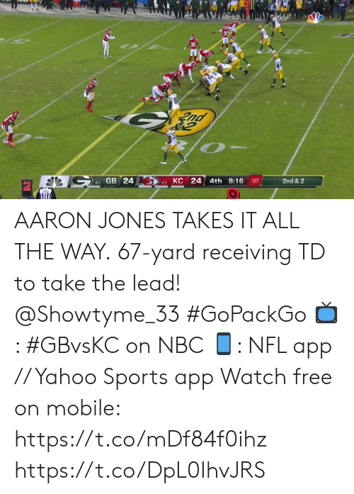 Memes, Nfl, and Sports: nd  КС 24  GB 24  4th  8:16  2nd & 2  :07  6-1  5-2 AARON JONES TAKES IT ALL THE WAY.  67-yard receiving TD to take the lead! @Showtyme_33 #GoPackGo  📺: #GBvsKC on NBC 📱: NFL app // Yahoo Sports app Watch free on mobile: https://t.co/mDf84f0ihz https://t.co/DpL0IhvJRS